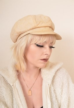 Vintage Leather Cap Hat in Cream