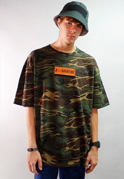 Oversized Orange Graphic Velcro  patch camouflage T-shirt