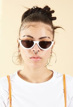 White Vintage Half Frame Cat Eye Sunglasses