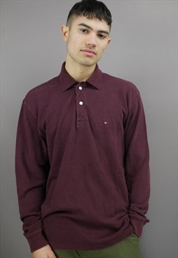 Vintage Tommy Hilfiger Long Sleeved Polo Shirt in Dark Red