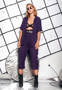 90s vintage co-ord in purple w cropped trousers