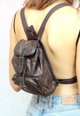 1990s vintage brown real leather mini backpack