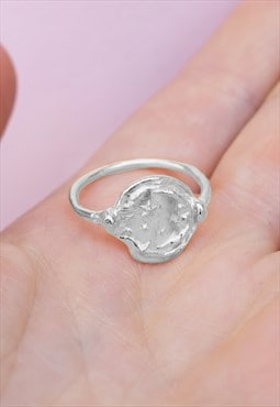 Silver Celestial Moon and Stars Ring Handmade