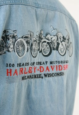 Vintage Oldschool Harley-Davidson Cotton Denim Shirt 14458