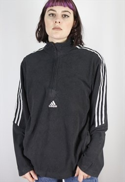 Vintage Adidas 1/4 Zip Fleece in Black in Size M/L