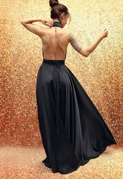 Long evening dress with open back