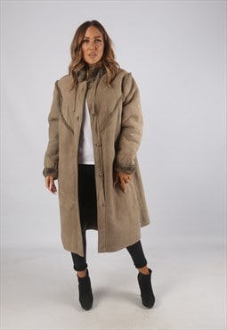 Vintage Sheepskin Suede Shearling Coat Mid Long UK 18 (9AF)