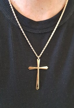 1990s Gold Plated Chain with Large Cross Pendant