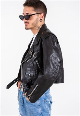 Vintage 80s Leather Jacket / S6941