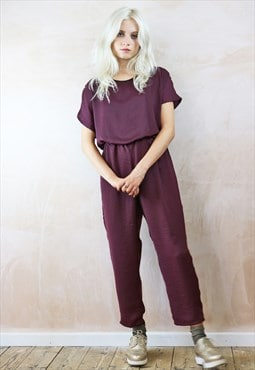 Jump Suit in silky plum purple