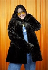 Vintage 90s Faux Fur Coat Dark Brown Black Leopard Print