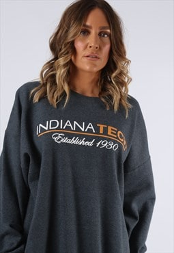 Sweatshirt Jumper Print INDIANA Long Oversized UK 18 (K9DR)