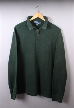 Mens Ralph Lauren Dark Green Quarter Zip Jumper