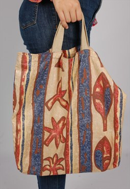Vintage 90s abstract print tote bag