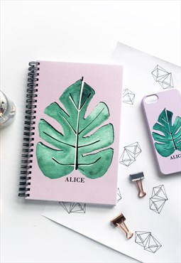 Tropical leaf monogram notebook