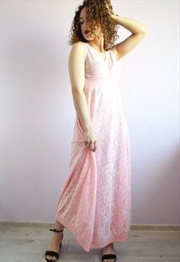Vintage 80s beach holiday festival pink maxi dress