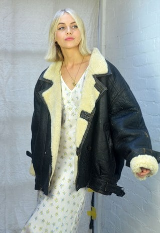 Vintage Oversized Black Leather & Shearling Aviator Jacket