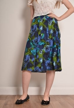 Vintage 80s Abstract Floral Pleated Midi Skirt in Blue