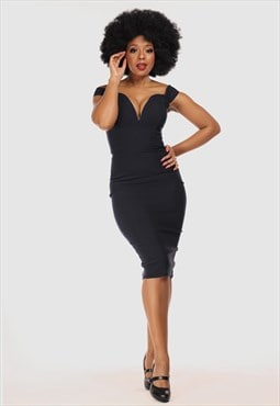 Valentina Off The Shoulder Evening Party Midi Pencil Dress