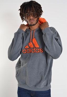 Vintage Adidas Big Logo Sweatshirt Hoodie Grey