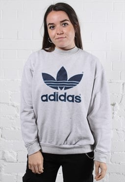 Vintage Adidas Sweater in Grey w/ Spell Out Logo