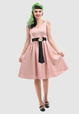 Federica Midi Skater Party Dress With Belt Vintage Style