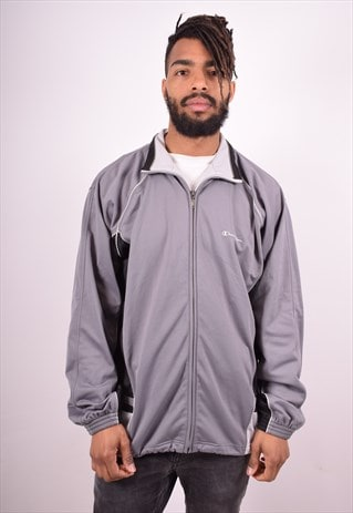 CHAMPION MENS VINTAGE TRACKSUIT TOP JACKET XL GREY 90S