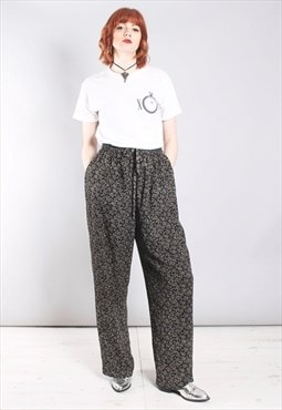 Vintage 80s Culotte Trousers in Black and Beige Print