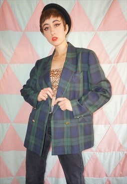 Vintage 80s Green / Blue Plaid Double Breasted Blazer Jacket