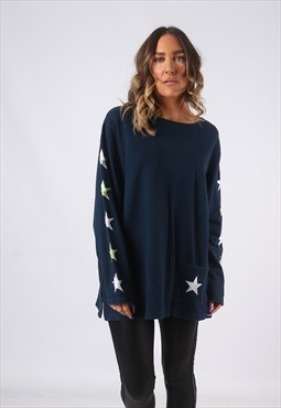 Sweatshirt Jumper Oversized Print Logo STAR UK 14 - 16 (GWBG