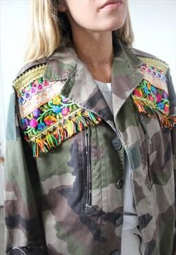 Vintage khaki jacket military ethnic embroidery