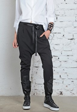 Womens Harem Pants/ Drop Crotch Pants/ Black Pants