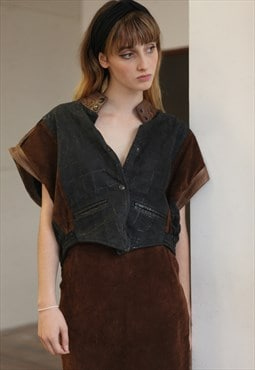 Vintage 80's Leather Gilet Cropped Jacket