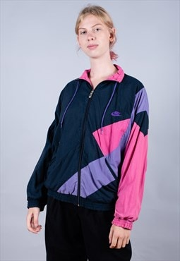 Early 80's Nike Black Pink Embroidered Track Jacket - B1308