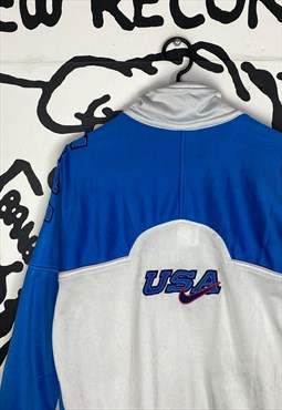 Vintage Blue and White Nike USA Tracksuit Top