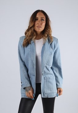 Vintage Denim Blazer Jacket Longline Long UK S 10 (J2M)