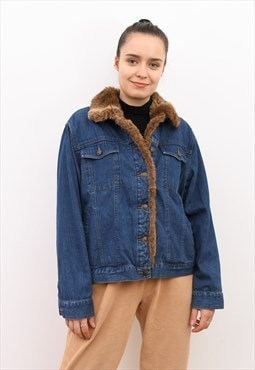Vintage Trucker Denim Jacket L Faux Fur Collar