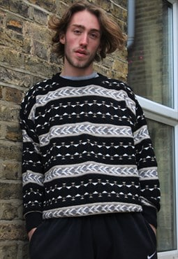 Vintage / 80's / Black Patterned Jumper