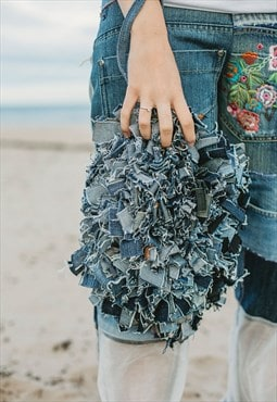 Clutch Bag In Rag Work Denim