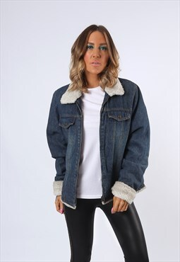 Denim Jacket Sherpa LINED Oversized Fitted UK 14 - 16 (E43D)