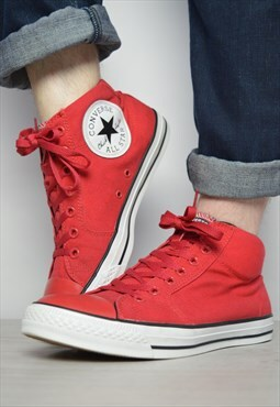 Vintage 90s Converse Red Hi-Tops Trainers Sneakers Grunge