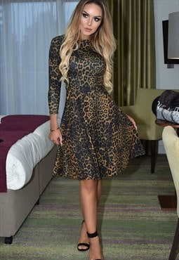 Savannah Leopard Print Long Sleeve Flared Skater Dress