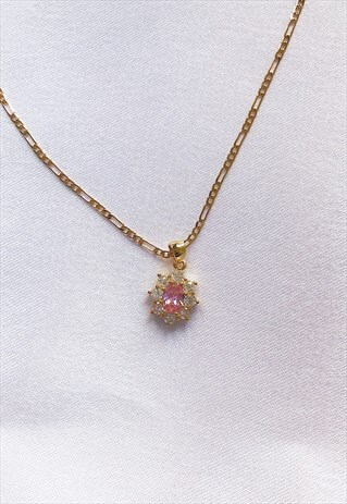 FLOWER PINK STONE NECKLACE