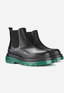Small Platform green heel boots black high ankle shoes