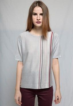 Stripped Gray Silky T-shirt