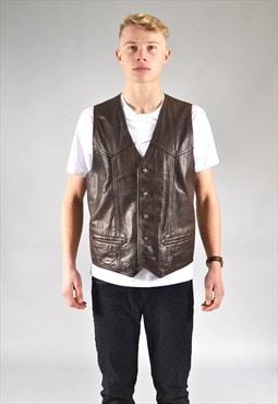 Vintage Brown Leather Waistcoat