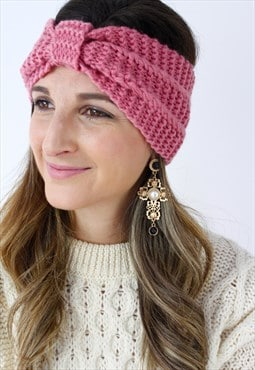 Pink Ribbed Knitted Turban Headband
