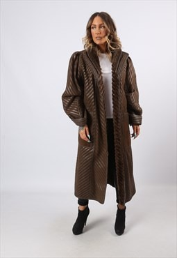 Sheepskin Shearling Leather Suede Long Coat UK 16 (LHCA)