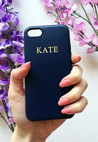 NAVY PU LEATHER EMBOSSED PERSONALISED IPHONE CASE