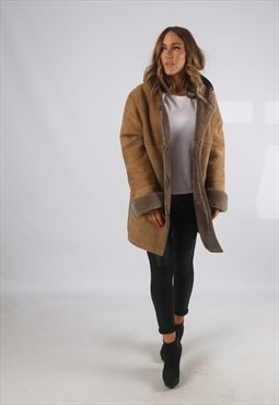 Vintage Sheepskin Suede Shearling Coat Short Hooded 14 (H4G)